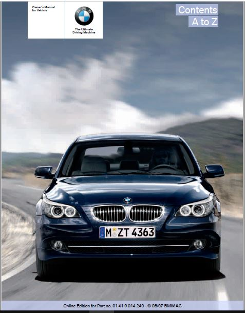 2008 BMW 550i Sedan Owners Manual