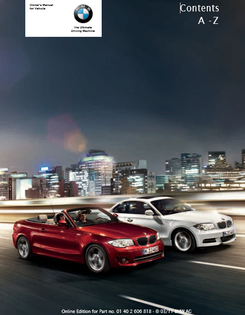 Owner's Manual for 2012 BMW 128i Coupe