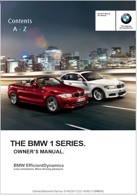 Owner's Manual for 2013 BMW 135i Coupe Owners Manual
