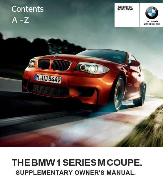 BMW 1 Series M Coupe Owner's Manual