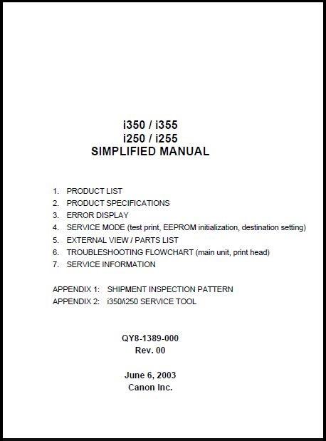 Canon i350-i355-i250-i255 Service Manual