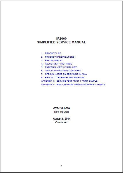 Canon IP2000 Service Manual