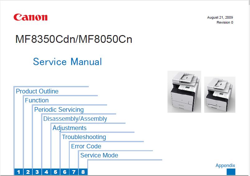 Canon MF8350Cdn/MF8050Cn/MF8330Cdn/MF8030cn Service Manual