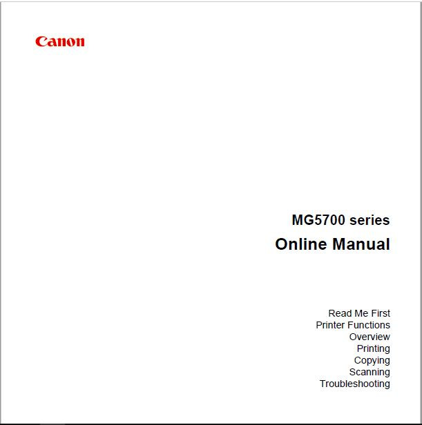 Canon MG5700 Online Manual