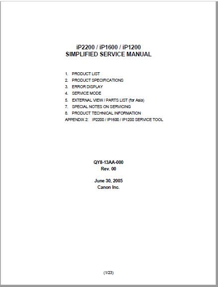 Canon Pixma Ip2200 Service Manual