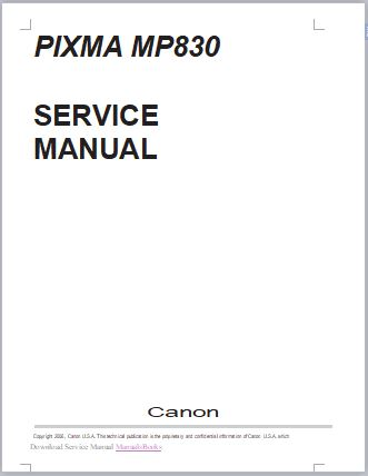 Canon PIXMA MP830 Service Manual