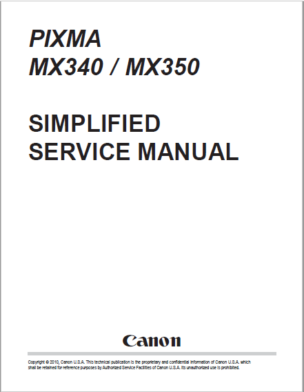 Canon Pixma MX340 MX350 Service Manual