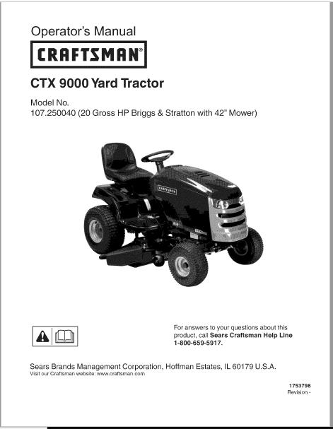 Craftsman CTX 9000 Operators Manual