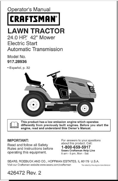 Craftsman YTS 4000 User Manual