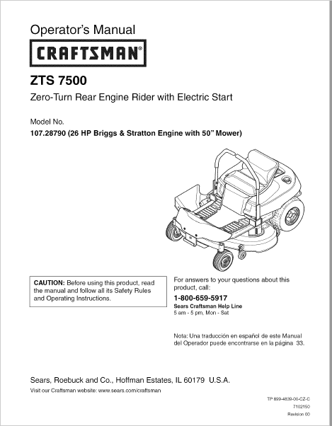Craftsman ZTS 7500 Operators Manual