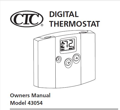 CTC Thermostat Model 43054 Owner's Manual