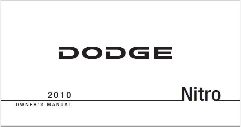 2010 Dodge Nitro Owners Manual