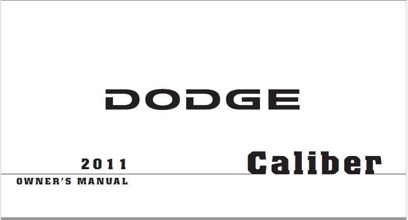 2011 Dodge Caliber Owners Manual PDF