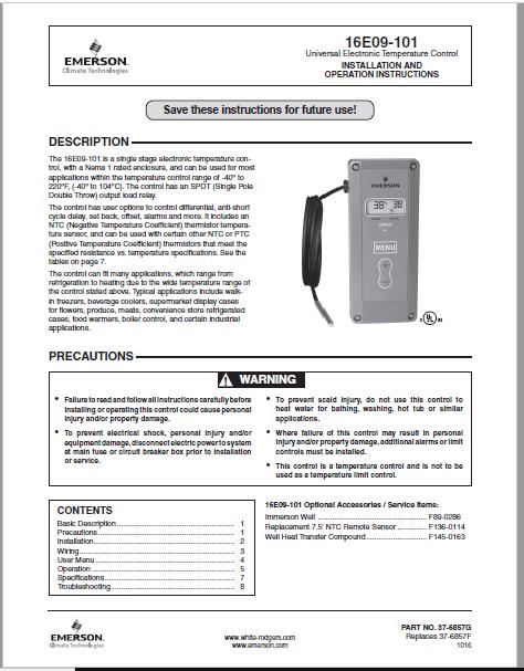 Emerson 16E09-101 Instruction Manual PDF