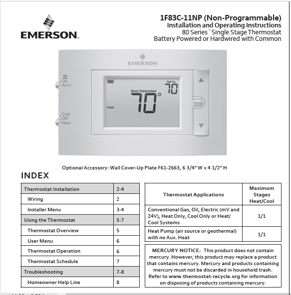 Emerson 1F83C-11NP Instruction Manual PDF