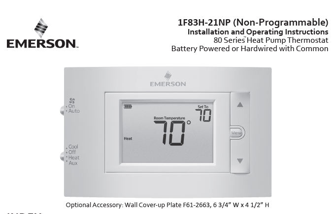 Emerson 1F83H-21NP Instruction Manual