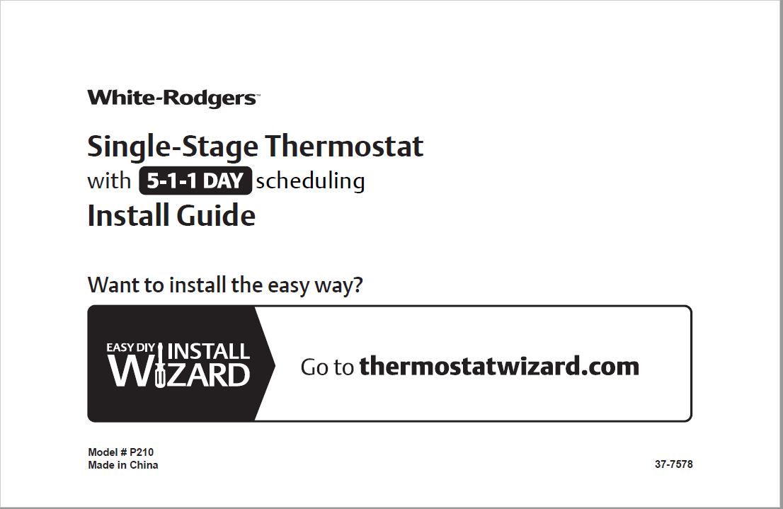 EMERSON White Rodger Single Stage Thermostat Installation Guide