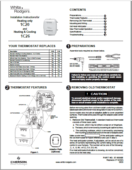Emerson White-Rodgers 1C26-101 instruction manual PDF