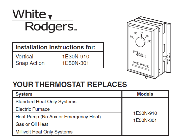Emerson White Rodgers 1E30N-910 installation instructions