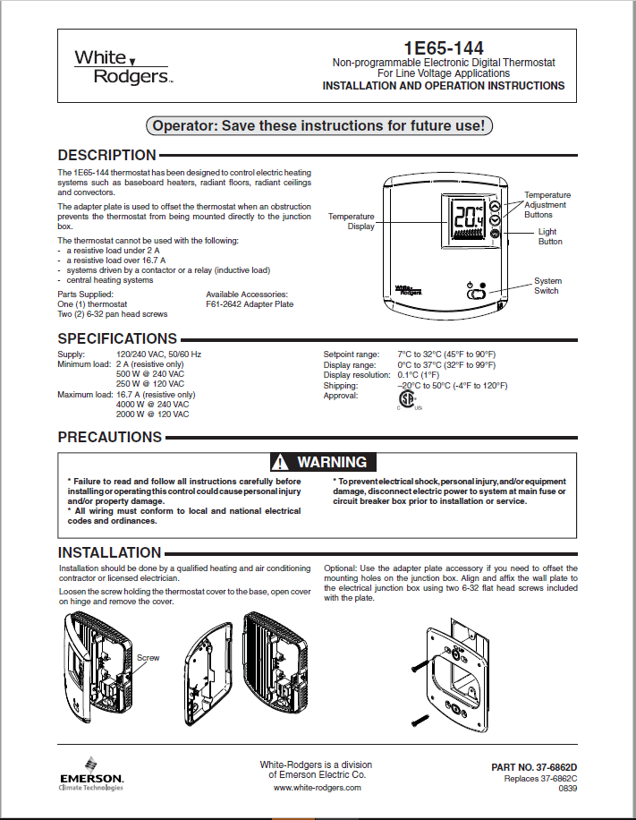 Emerson White Rodgers 1E65-144 Thermostat Manual