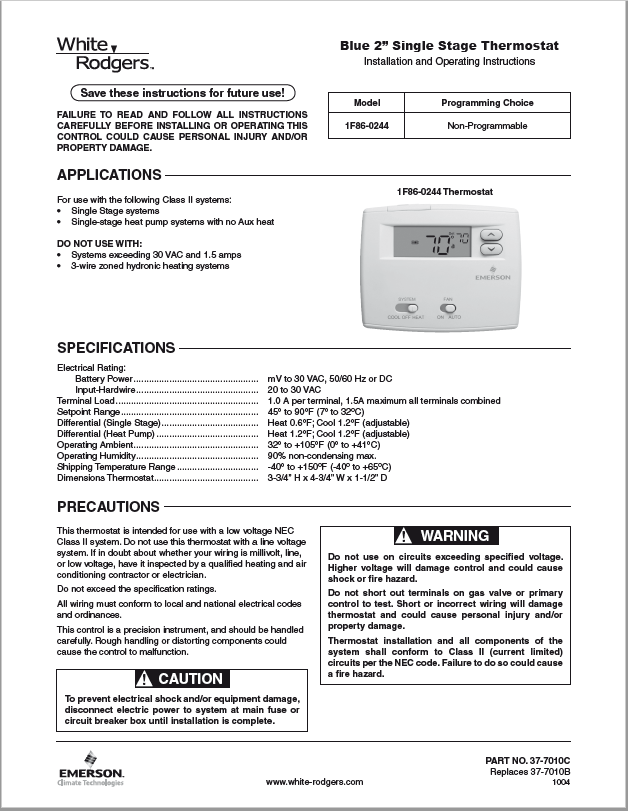 Emerson White Rodgers 1F86-0244 Thermostat Manual