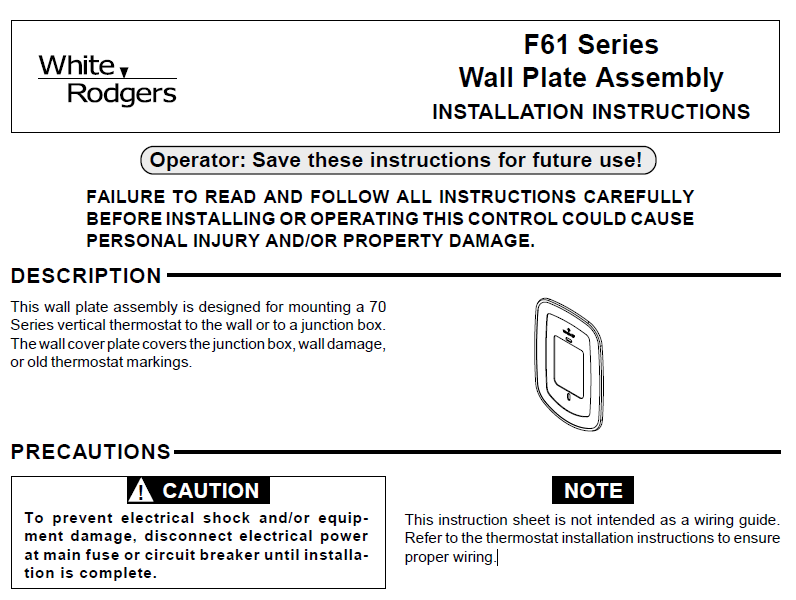 Emerson White Rodgers F61 Series Wall Plate Assembly installation instructions
