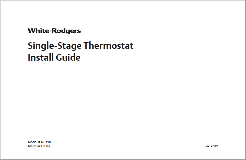 Emerson White Rodgers NP110 Single-Stage Thermostat Manual