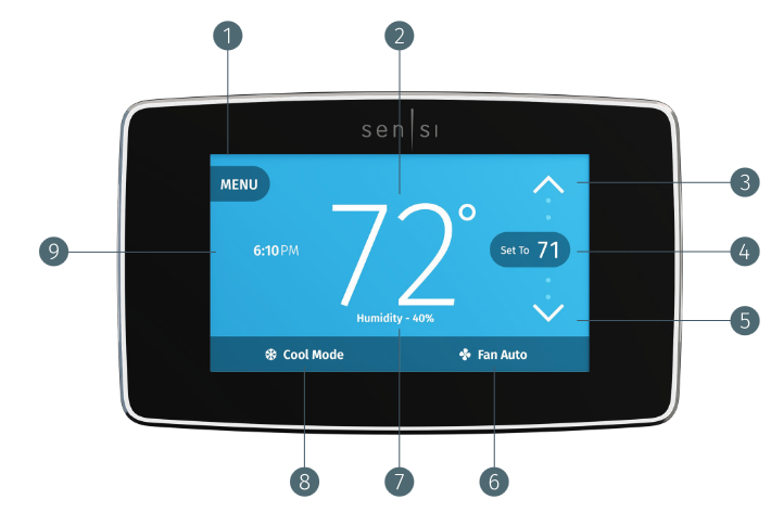 SENSI EMERSON TOUCH SMART THERMOSTAT BUTTONS AND ICONS