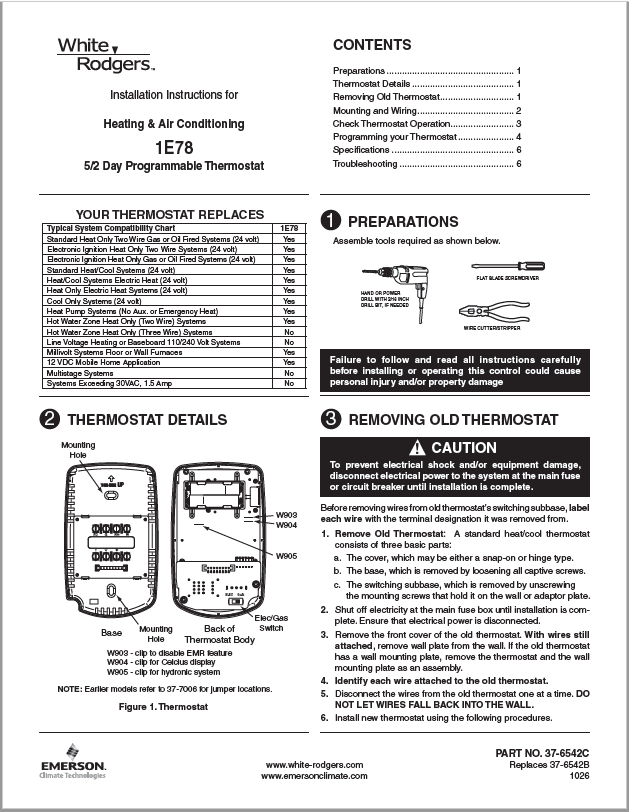 White Rodgers 1E78-144 Installation Manual
