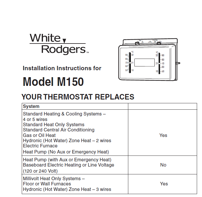 White Rodgers Model M150 Thermostat Installation Manual