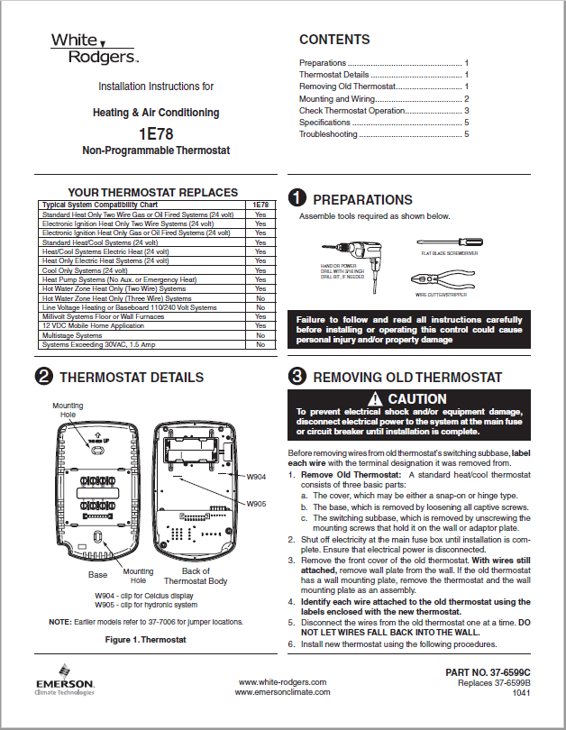 White Rodgers Thermostat 1E78 -140 Manual
