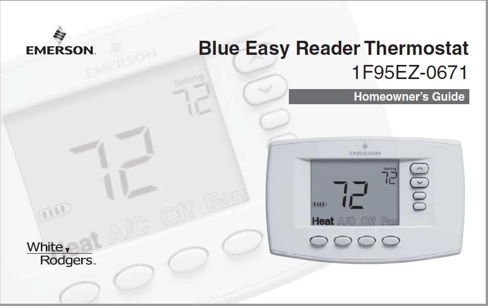 White Rodgers White Blue Easy Reader 1F95EZ-0671 Thermostat Manual
