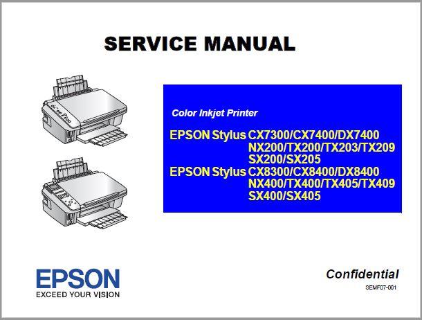 epson CX7300/CX8300, TX200/TX400, SX200/NX200 Service Manual