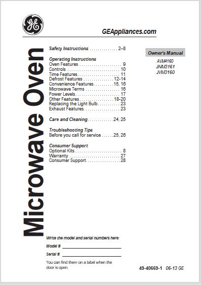 GE JVM3160, AVM4160, JNM3161 Manual