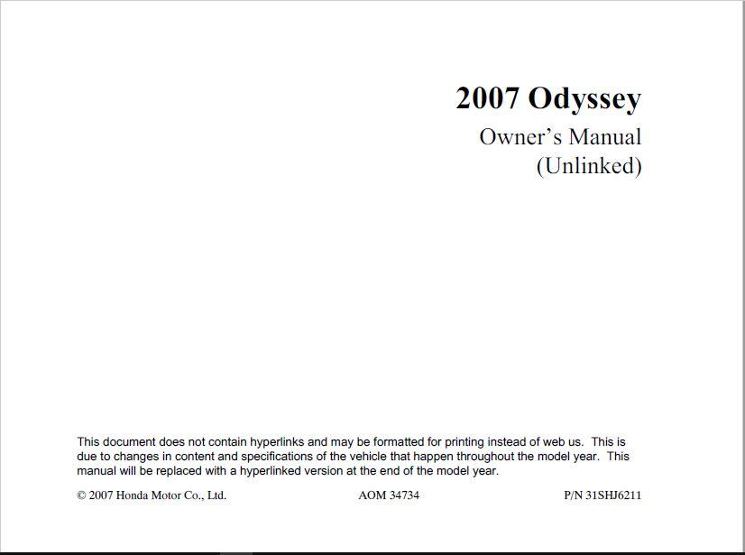 2007 Honda Odyssey Owner's Manual