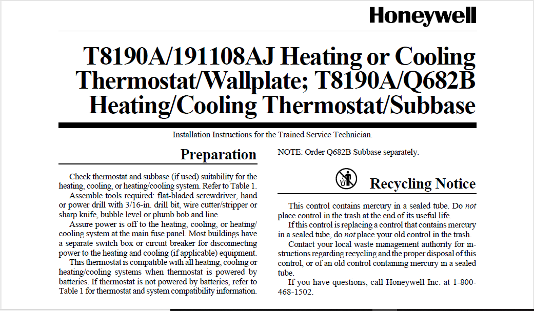 Download Honeywell 191108AJ Thermostat User Manual PDF