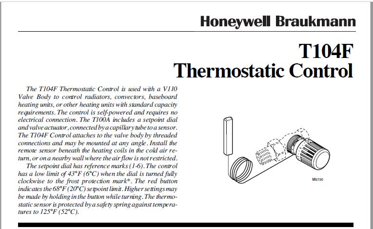 Download Honeywell T104F Thermostatic Control PDF