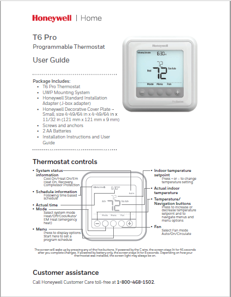 Honeywell T6 Pro Programmable Thermostat Manual PDF