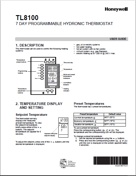 Download Honeywell TL8100 Manual PDF
