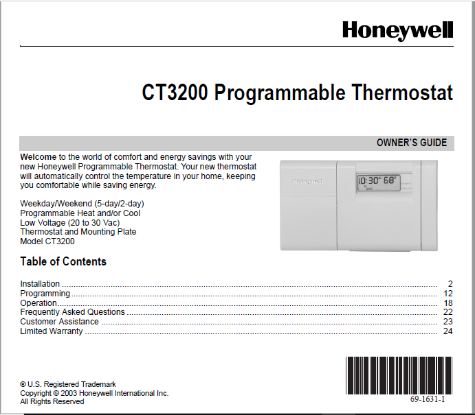 Honeywel CT3200 Programmable Thermostat Manual