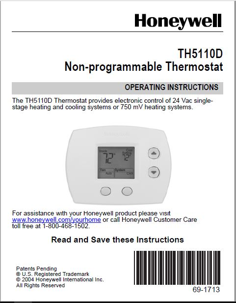Honeywell 1 Heat Cool Th5110D1022 Large R Operation Manuals