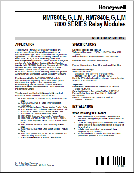 Honeywell 7800 Series Relay Modules Manual