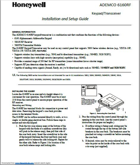 Honeywell ADEMCO 6160RF Manual