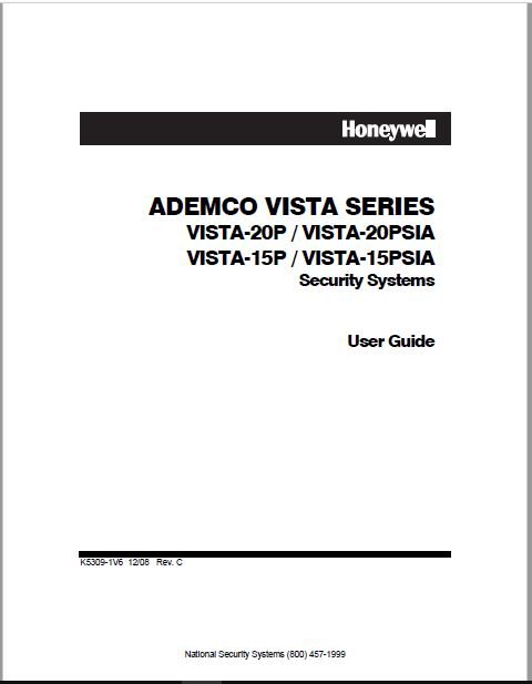 Honeywell ADEMCO VISTA SERIES User Guide