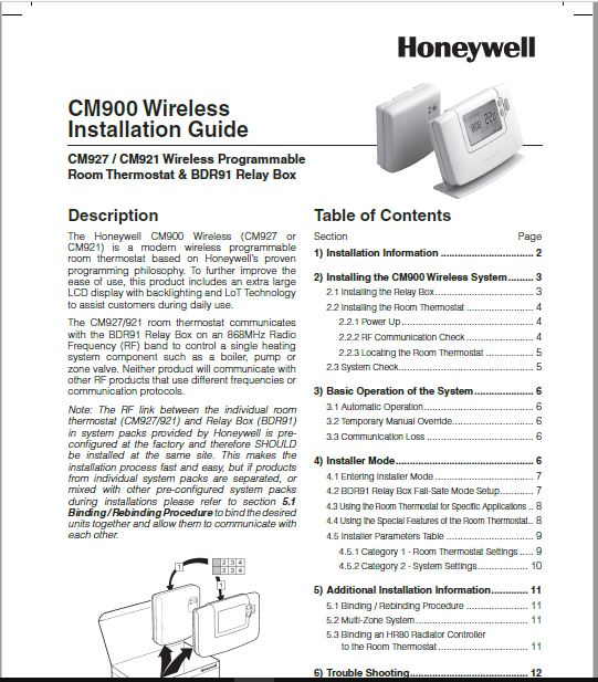 Honeywell CM900 Wireless Installation Guide
