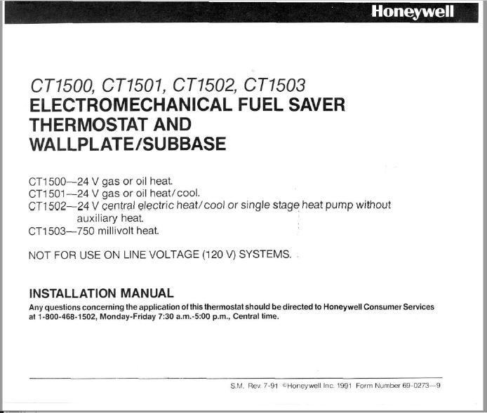 Honeywell CT1500, CT1501, CT1502, CT1503 Installation Manual