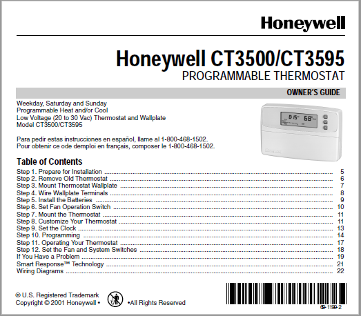 Honeywell CT3500/CT3595 THERMOSTAT Manual