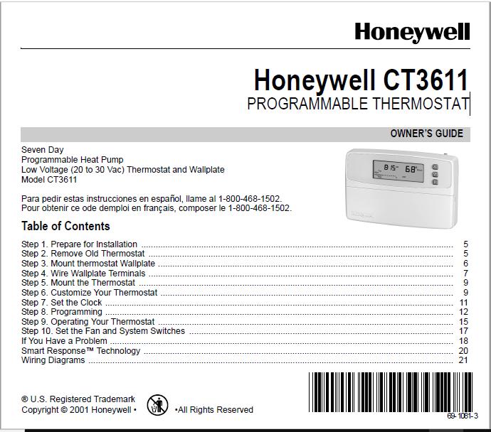 Honeywell CT3611 Manual