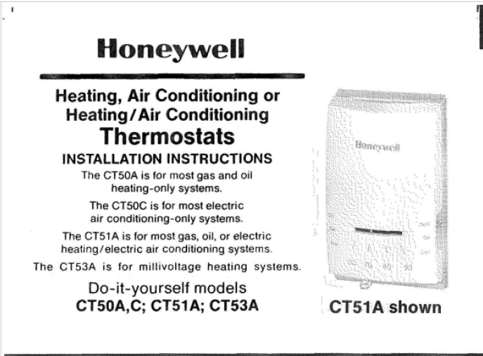 Honeywell CT5OA,C; CT51A; CT53A Manual