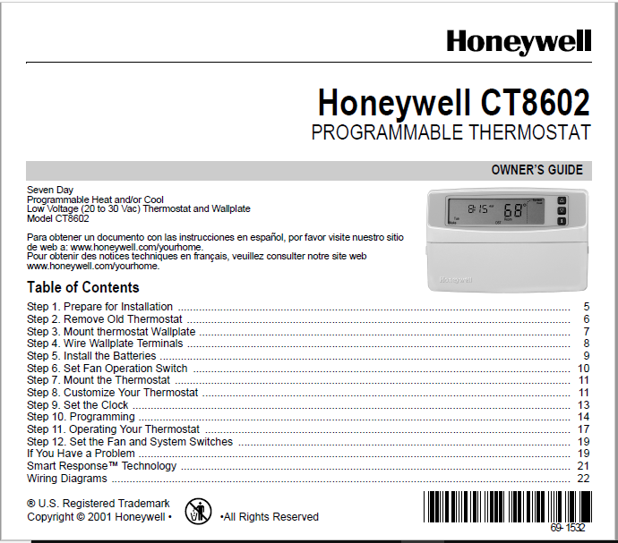 Honeywell CT8602 Manual